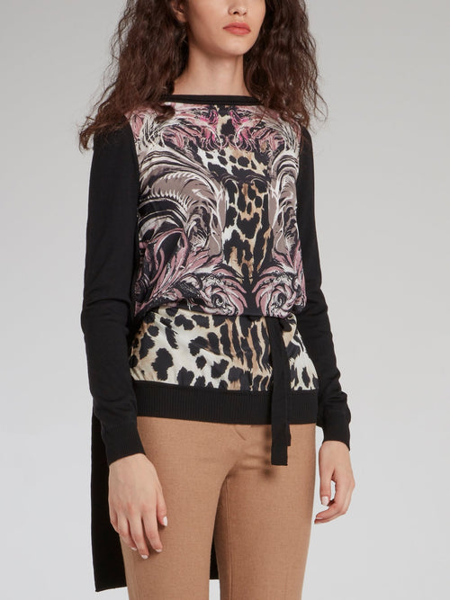 Leopard Baroque Print Long Tail Top