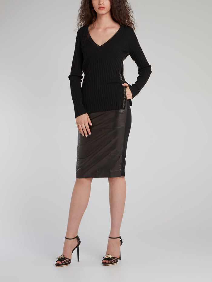 Black Leather Panel Pencil Skirt