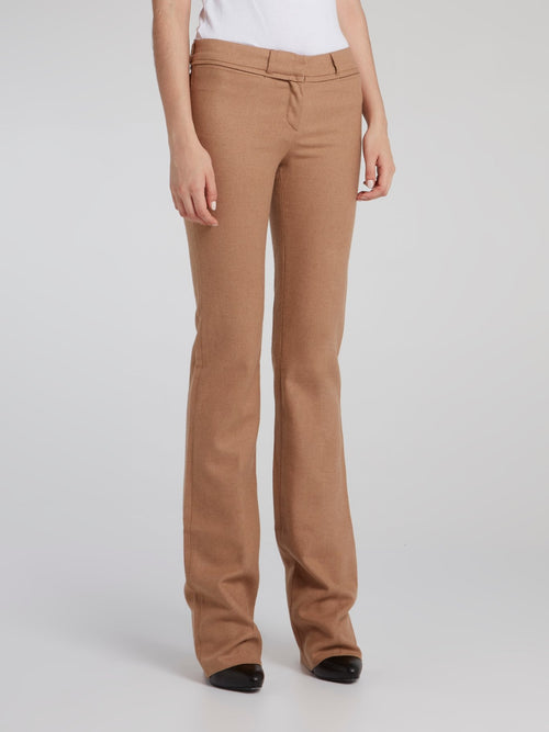 Brown Mid-Rise Bootcut Jeans