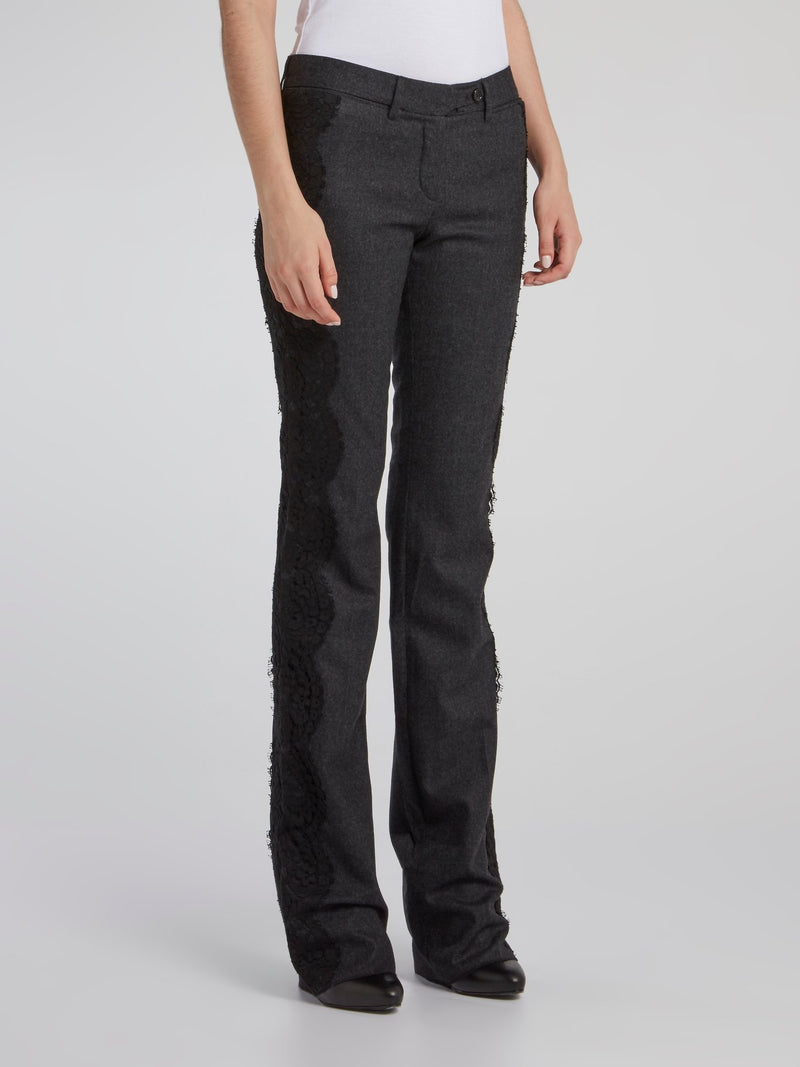 Black Side Lace Detail Bootcut Pants