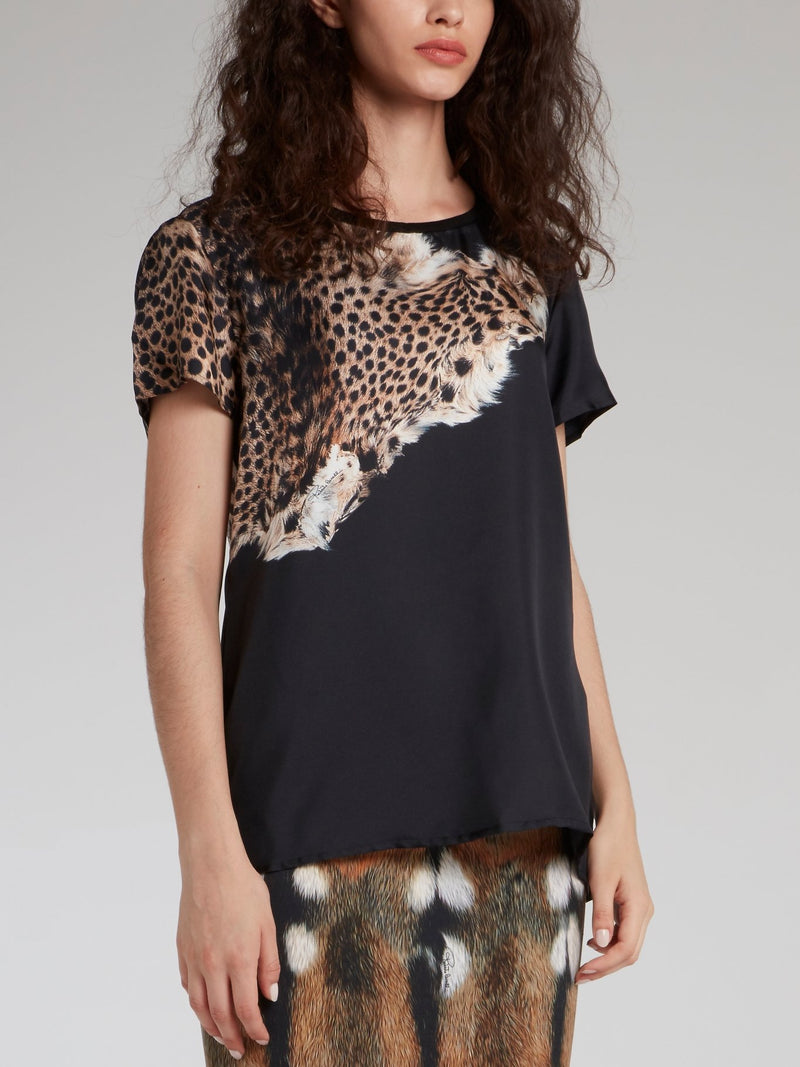Black Leopard Printed T-Shirt