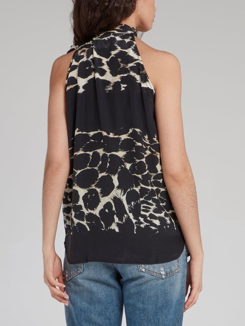 Baroque Print Bow Tie Halter Top
