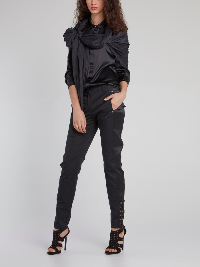 Black Lace Up Slim Fit Pants