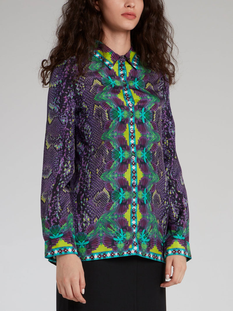 Jacquard Print Long Sleeve Shirt
