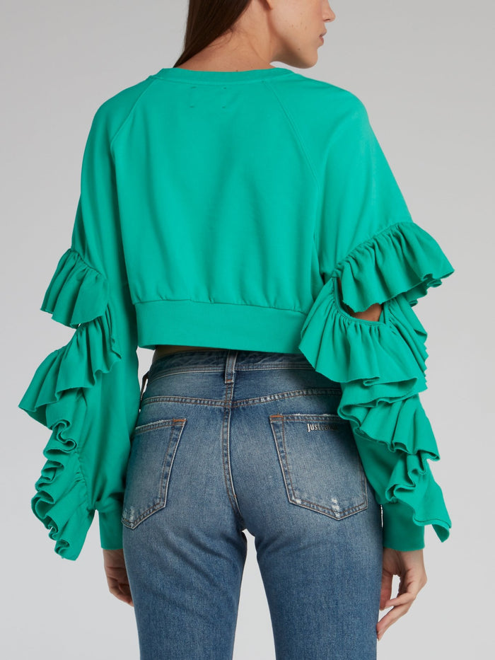 Studded Frill Detail Cropped Top