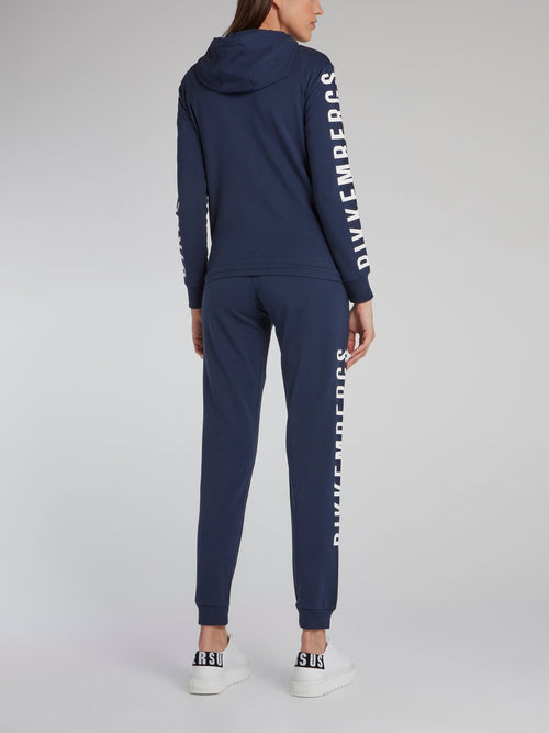 Navy Logo Print Active Suit