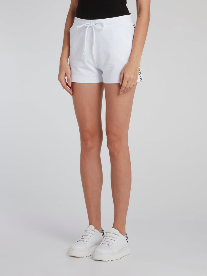 White Logo Sweat Shorts