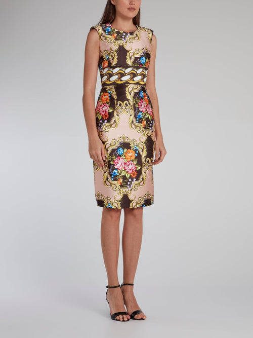 Floral Baroque Print Mini Dress