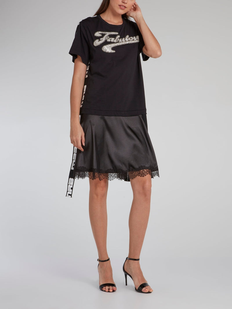 Black Lace Hem T-Shirt Dress