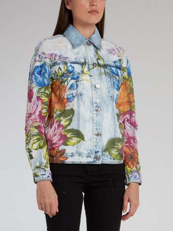 Floral Print Distressed Denim Jacket