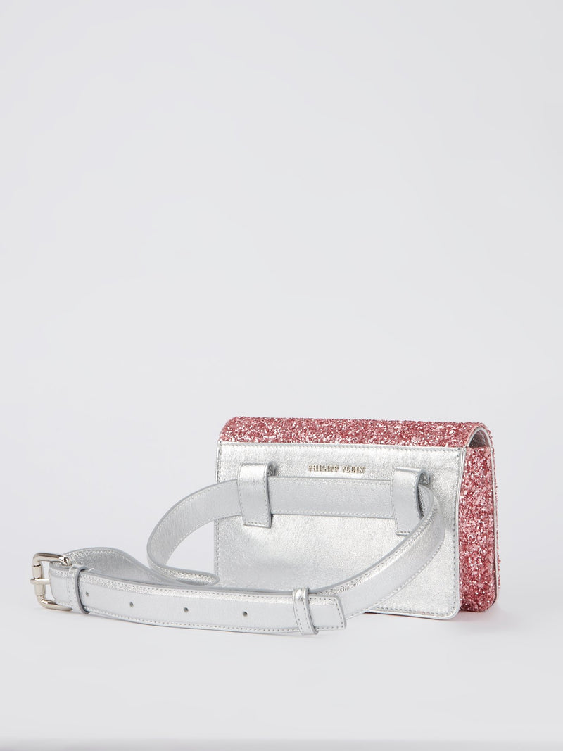 Pink Crystal Monogram Belt Bag