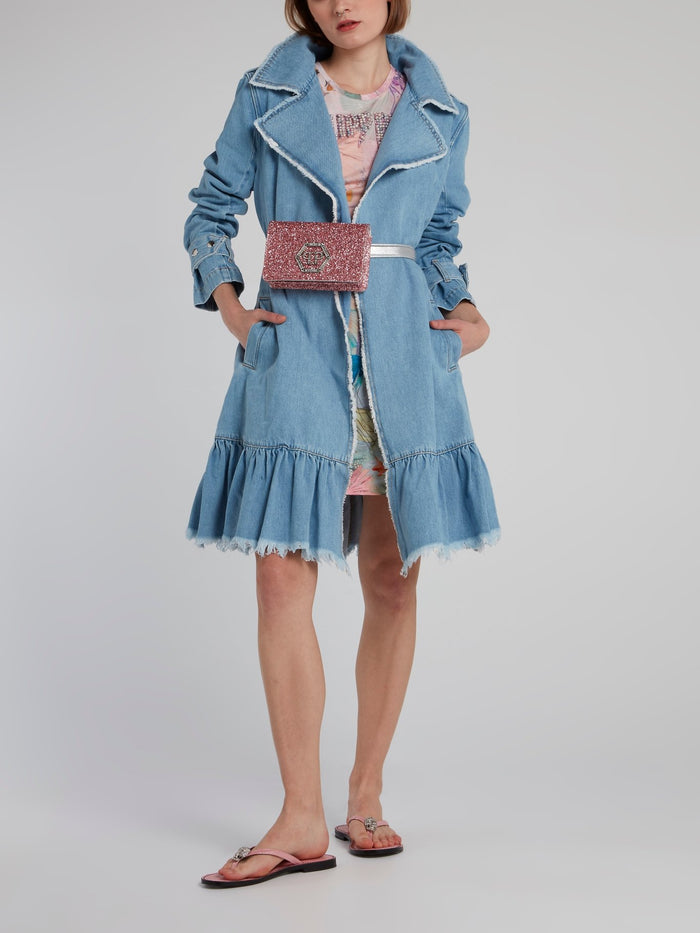 Frayed Denim Trench Coat