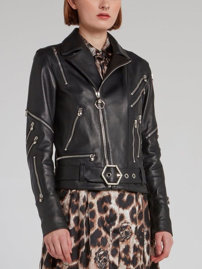Black Zipper Embellished Leather Biker Jacket