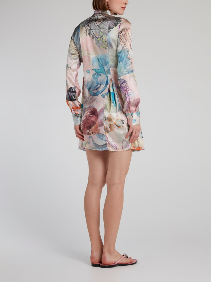 Ocean Print Pleated Shirt Dress