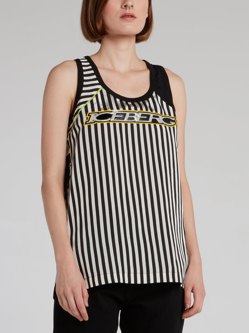 Floral Stripe Logo Tank Top