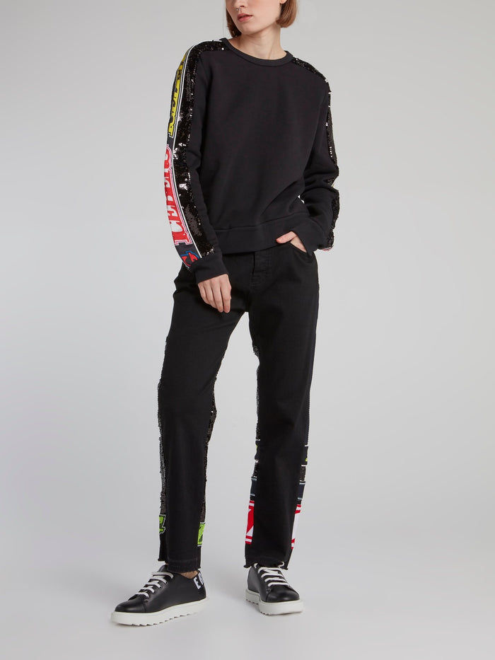 Black Logo Sequin Panel Straight Cut Jeans