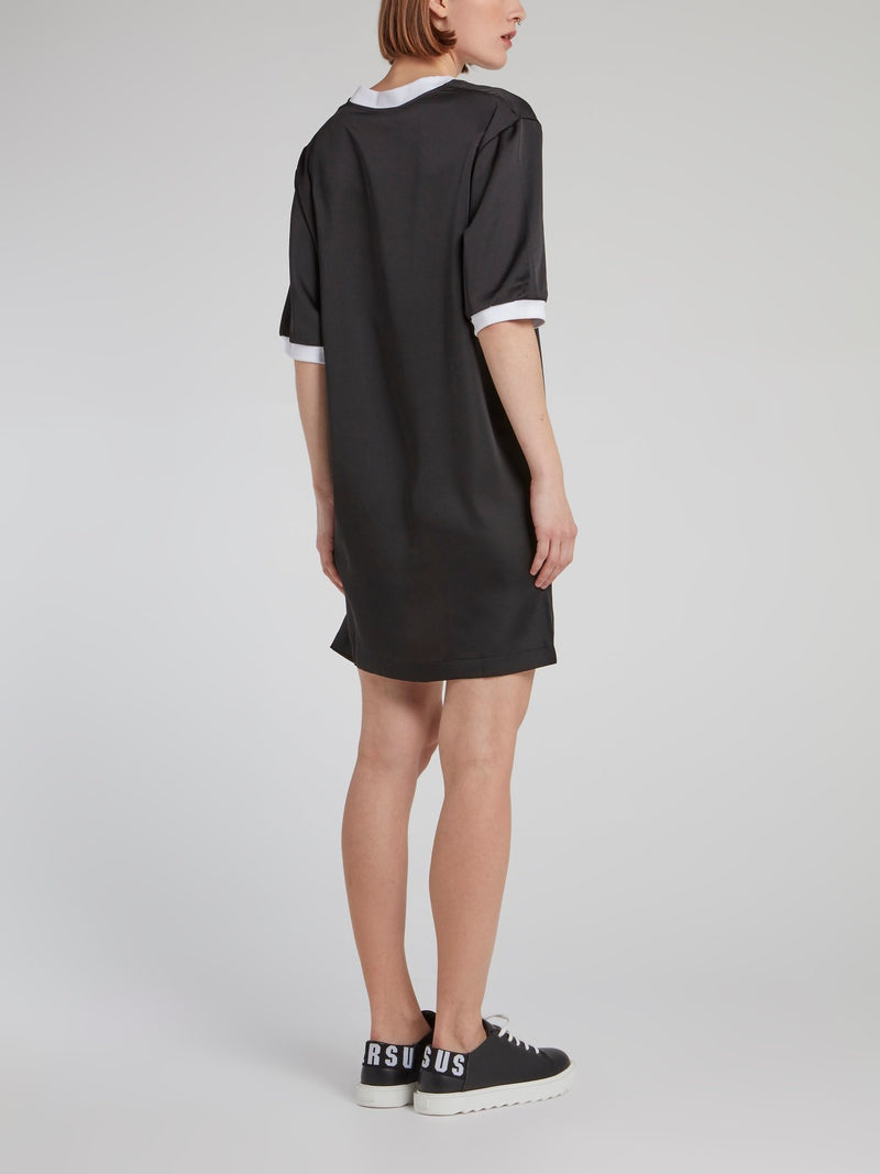 Black Crystal Studded Jersey Dress