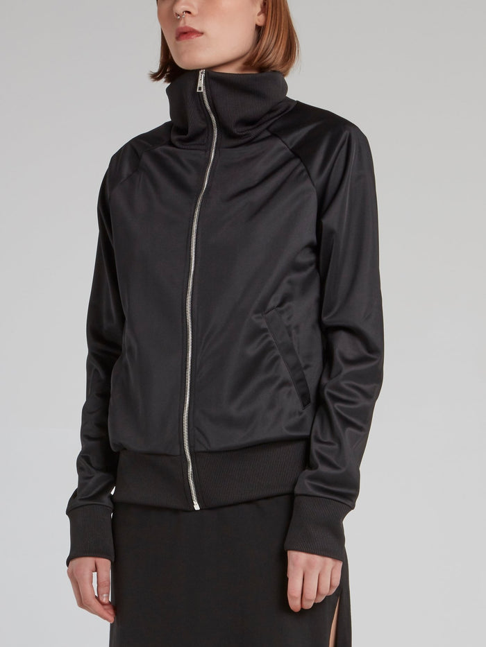 Black Ribbed Edge High Neck Jacket