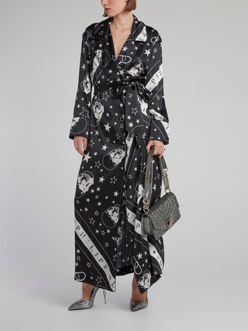 Stars and Skulls Wrap Silk Dress
