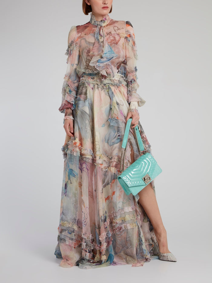 Ocean Print Tiered Frill Dress
