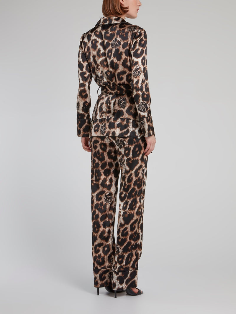 Leopard Print Silk Twin Set