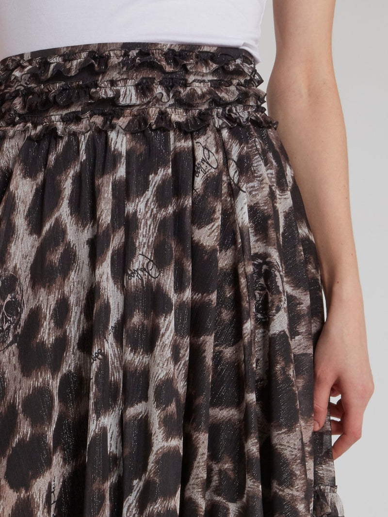 Leopard Effect Frill Detail Maxi Skirt