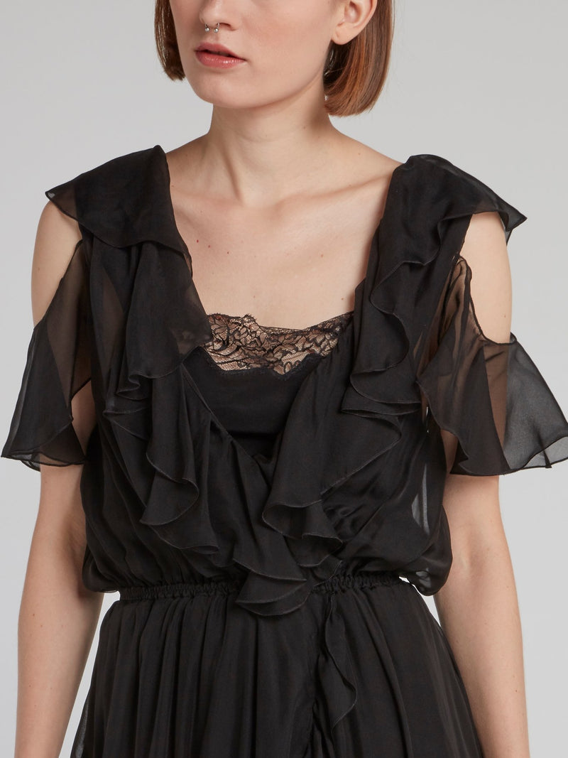 Black Cold Shoulder Asymmetric Frill Dress