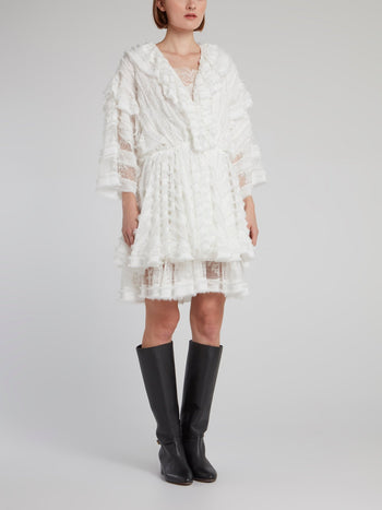 White Frayed Detail Lace Mini Dress