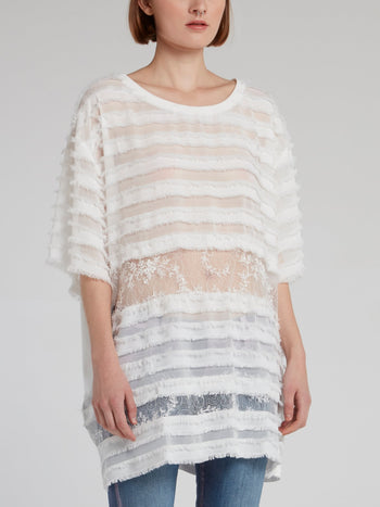 White Frayed Detail Lace Top