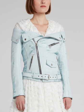 Vintage Off-The-Shoulder Leather Jacket