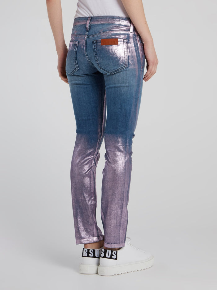 Metallic Panel Slim Fit Jeans