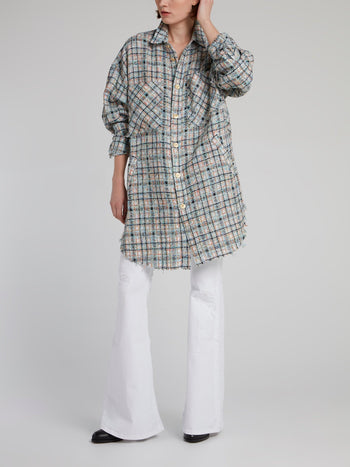 Check Tweed Oversized Shirt