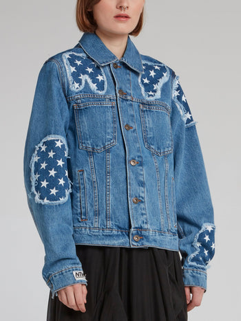 Star Print Statement Denim Jacket