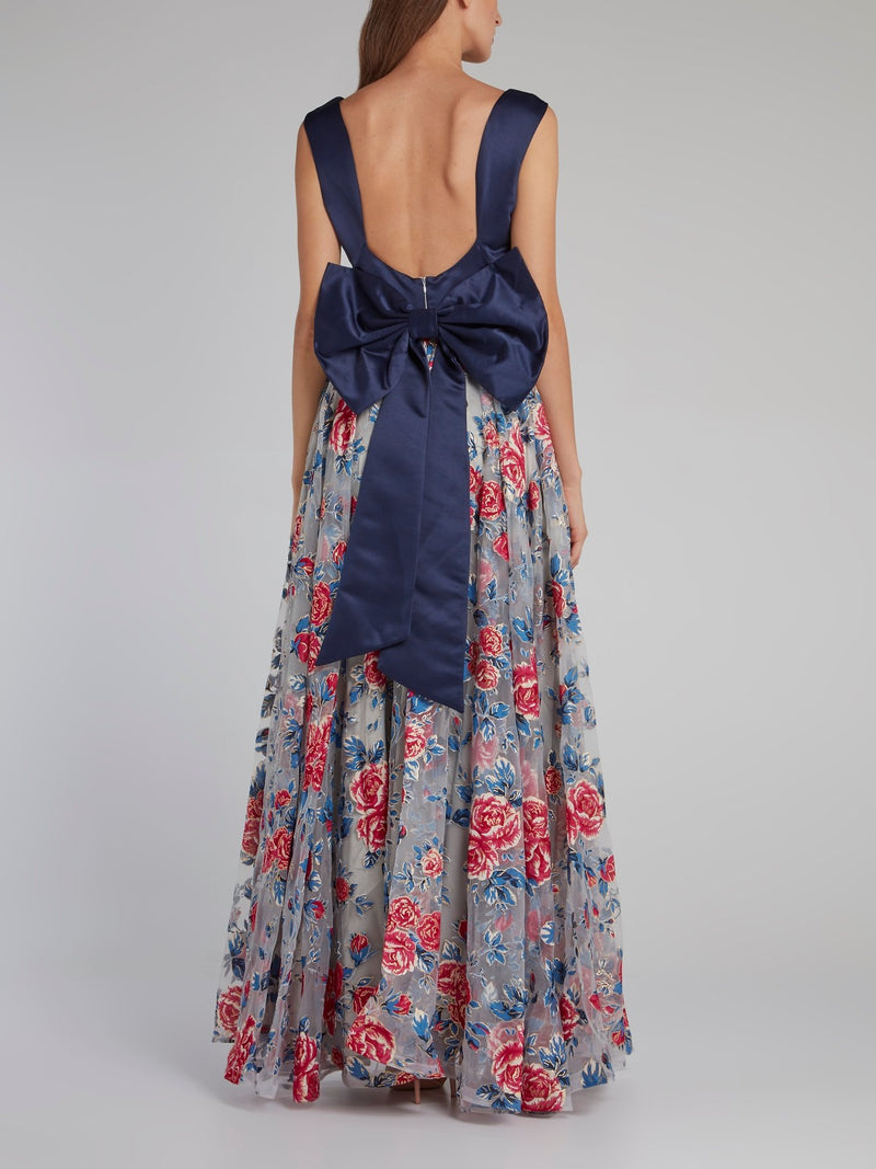 Navy Bodice Ribbon Detail Floral Dress