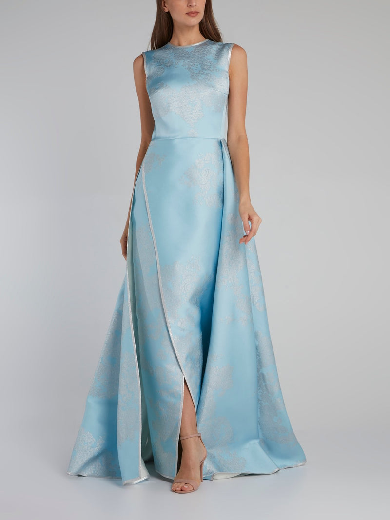 Blue Floral Flared Slit Gown