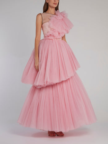 Pink Layered Tulle Gown