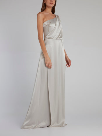 Embellished Draped Column Gown