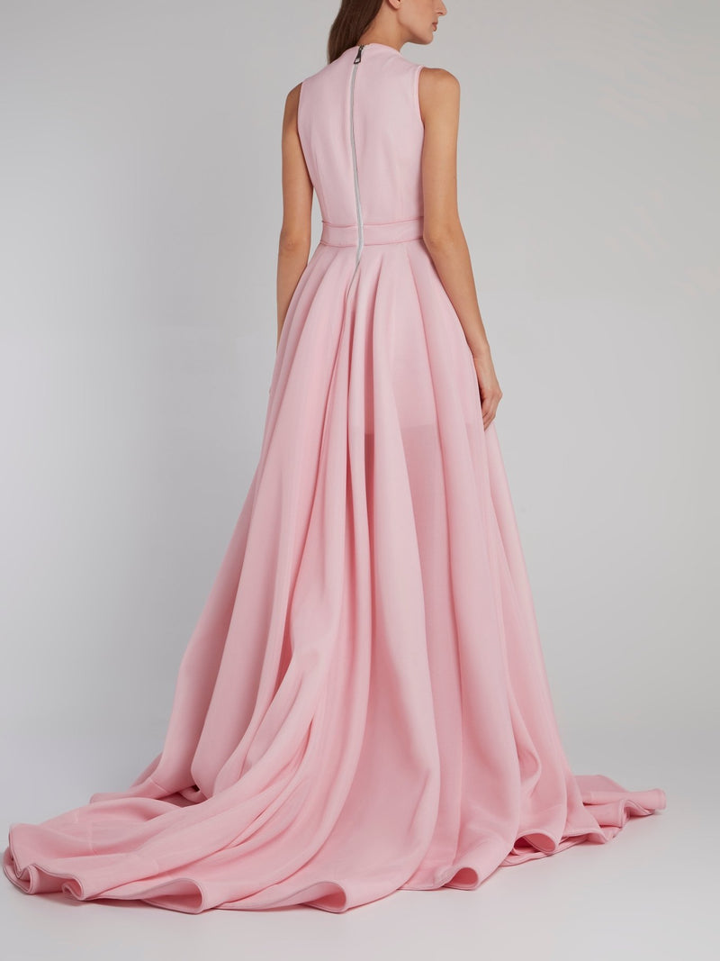 Pink A-Line Ribbon Detail Gown
