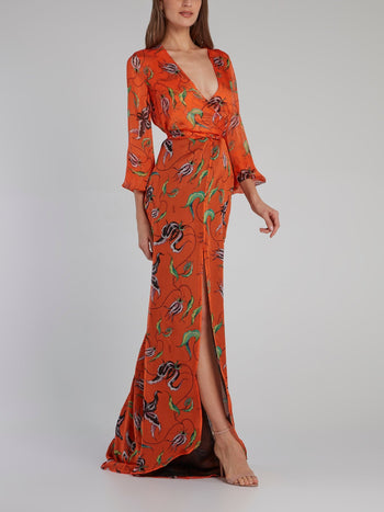 Orange Printed Rear Tie Gown