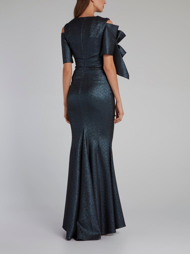 Metallic Scuba Stretch Trumpet Gown