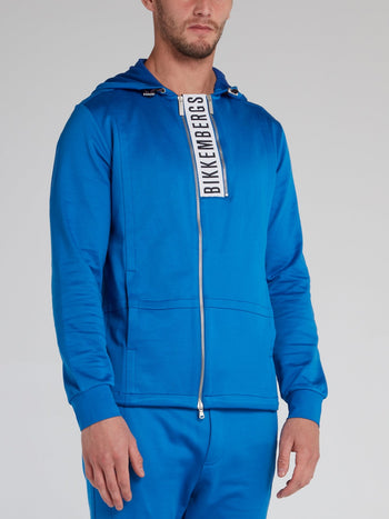 Blue Statement Zip Up Jacket