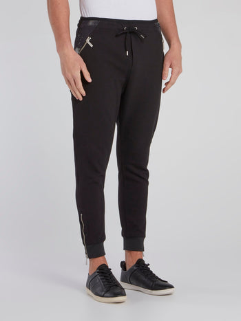 Black Zipper Pocket Active Pants