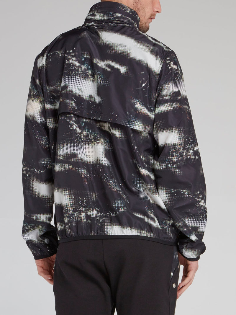 Black Printed High Neck Jacket