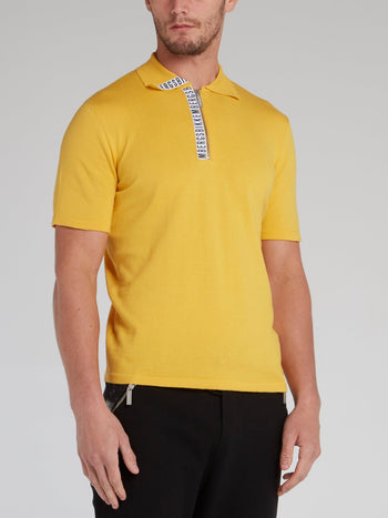 Yellow Logo Tape Knitted Polo Shirt