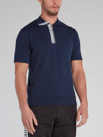 Navy Logo Tape Knitted Polo Shirt