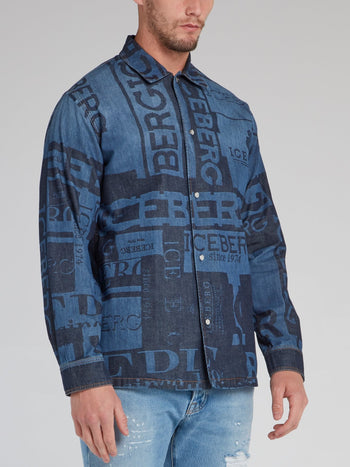 Blue Monogram Print Denim Shirt
