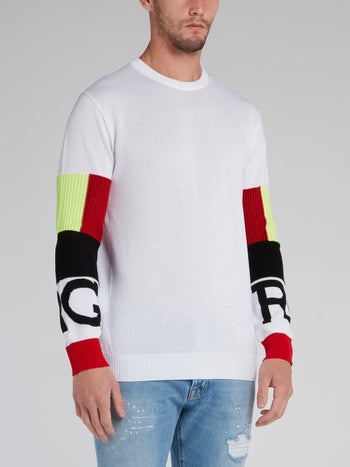 White Sleeve Colour Block Sweater