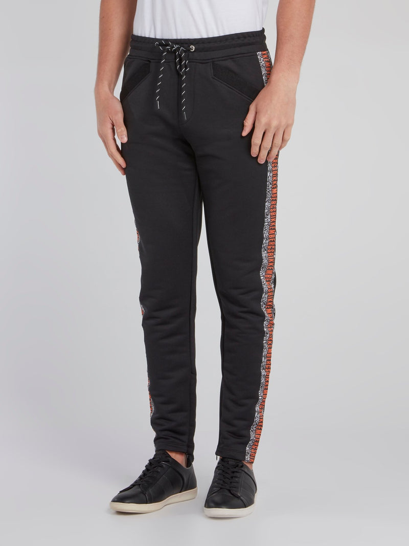 Black Logo Tape Trim Sweatpants