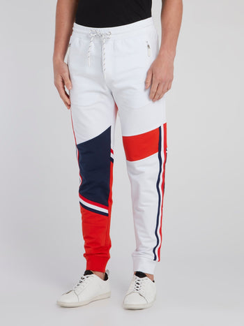White Colour Block Sweatpants