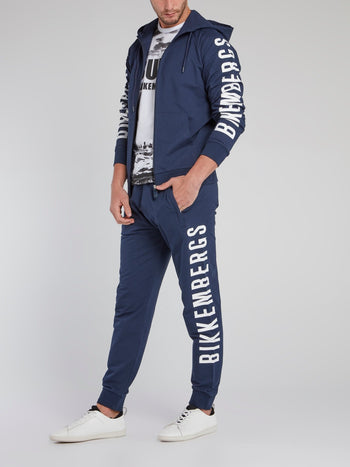 Navy Logo Sleeve Sweat Jacket